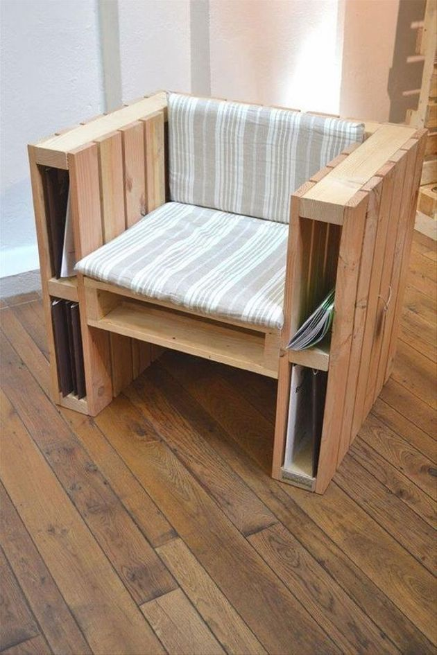 Pallet chair with storage book option is such an amazing thing by which we can relax and enjoying our reading hobby. Our books or newspaper can keep saving and whenever we are in the mood of relaxation our favorite books can be easily available in our range. This chair has two compartments on left and right side and also below the seat.