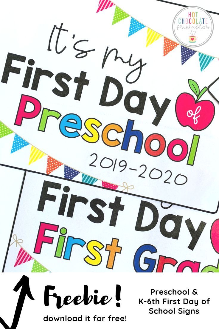 image about First Day of Preschool Sign Free Printable referred to as Buy prepared for your little ones very first working day of university with this free of charge