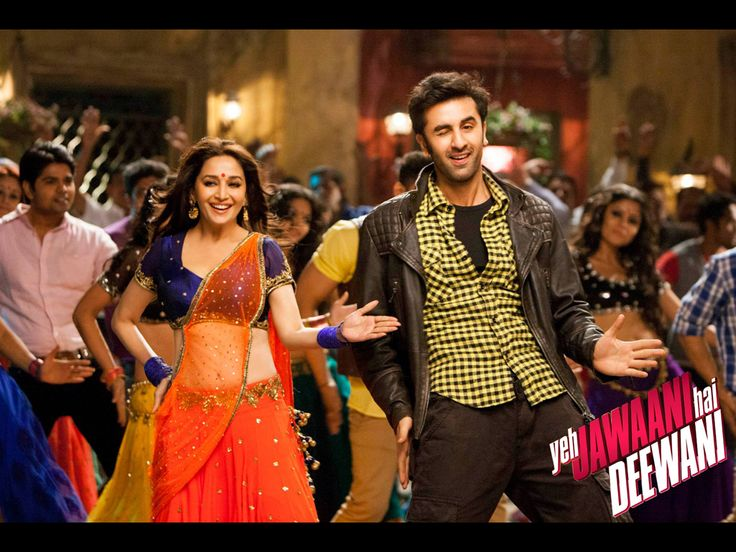 "Madhuri Dixit with Ranbir Kapoor in the song ""Ghagra"""