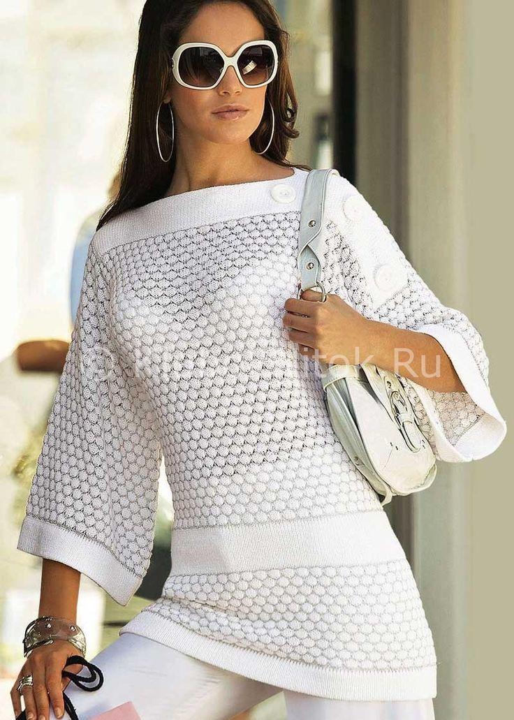 Шикарна белая туника | Вязание для женщин | Вязание спицами и крючком. Схемы вязания.