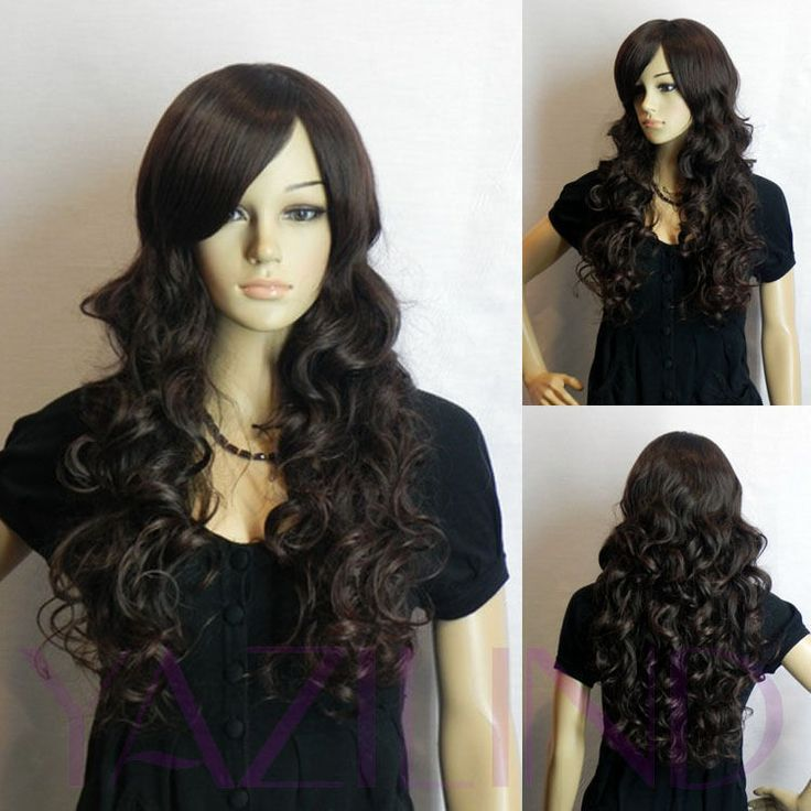 Black Brown Beach Wavy Curly Hair Wig Ladies Fancy Dress Hair Wigs Long Cosplay #yazilind #women2520252clad2520252cosplay