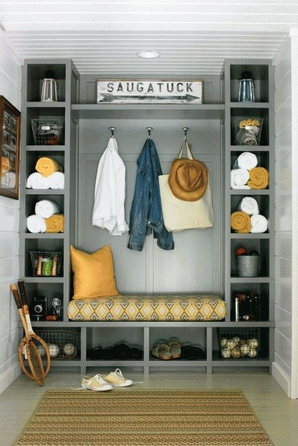 Built-ins organize a lakehouse mudroom, meaning there is less work to find what you need to have fun.