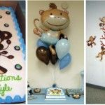 Hostess Hero Elizabeth transformed a plain room into an amazing baby shower venue with the Monkey Boy baby shower theme. She started by covering each table in a blue or brown tablecloth to coordinate with the Monkey Boy theme, and then added a stripe of crepe paper ribbon down the center in the opposite color