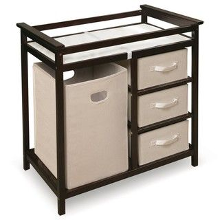 @Overstock - This changing table keeps everything tidy and concealed for a clean look in the nursery Large hamper for dirty duds or storing supplies Hamper easily removes from its shelf to carry to your laundry room http://www.overstock.com/Baby/Espresso-Modern-Changing-Table/6297324/product.html?CID=214117 $117.02