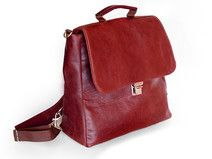 Satchel/ Backpack dark red pull up leather