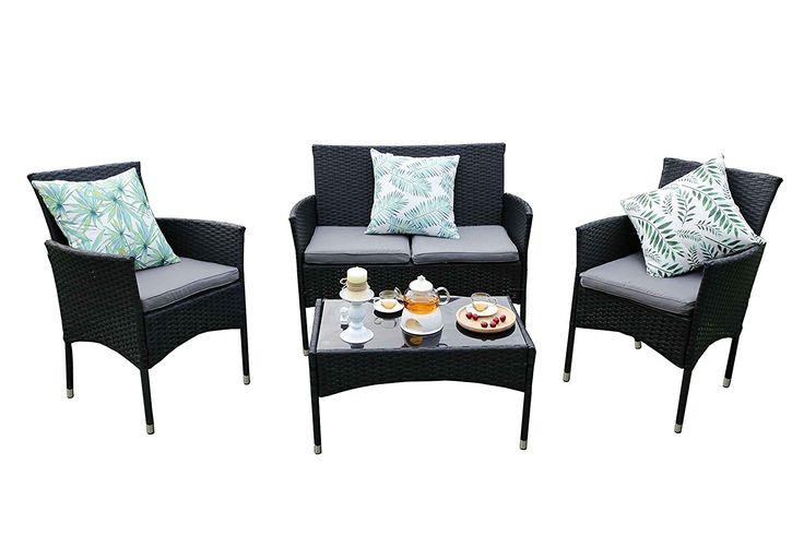 Yakoe Eton Range Outdoor Rattan Garden Furniture Sofa Set, Black, 106x59x48 cm ** To view further for this article, visit the image link. #GardenFurnitureandAccessories