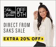 New Offers and Deals: EXTRA 20% Off Coupon at Off5h Saks Fifth Avenue  DIRECT FROM SAKS SALE. TAKE AN EXTRA 20% OFF. FOR A TOTAL SAVINGS OF UP TO 85% OFF  Offer applied at checkout. Exclusions apply. Percentage reflects the reduction off the regular price at which weve normally sold that item or if we have not previously sold the item the price at which that item (or a comparable item) is normally sold in the market. Offer valid January 4 2017 through January 10 2017  SHOP NOW  The post…