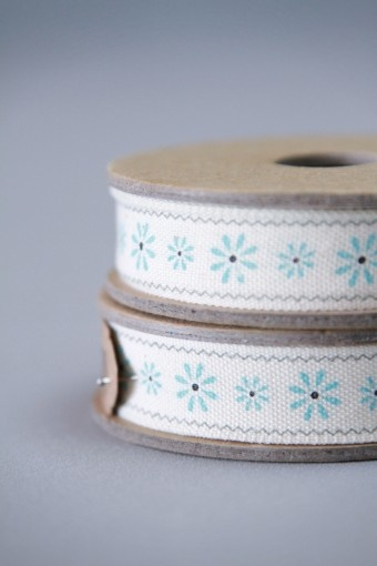 Elegant little blue flowers - are we right in thinking this ribbon looks Scandinavian in style?