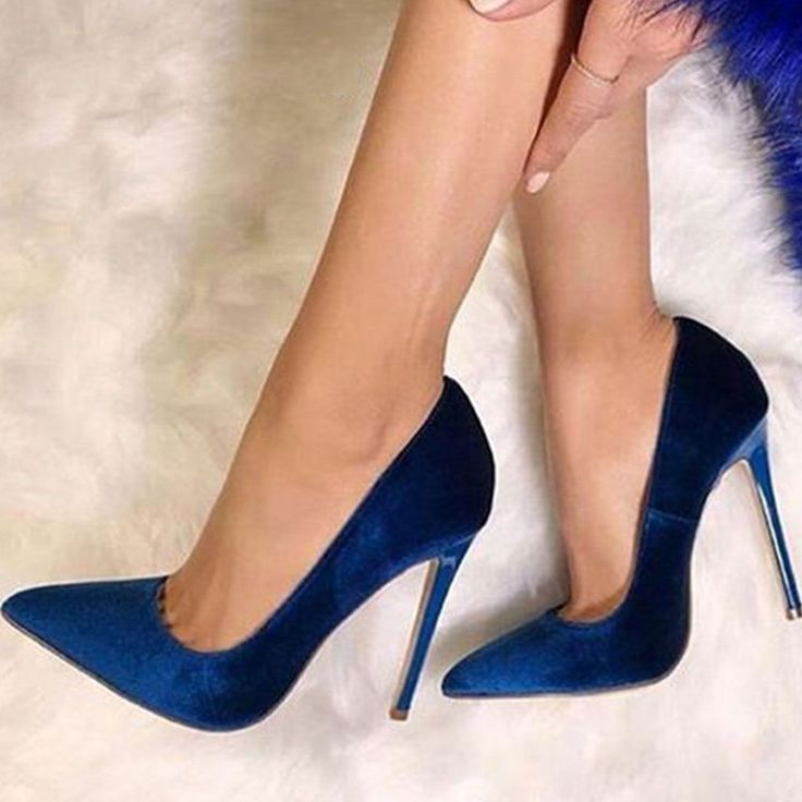 Dark Blue Suede Pointed Toe Banquet Stiletto Heels
