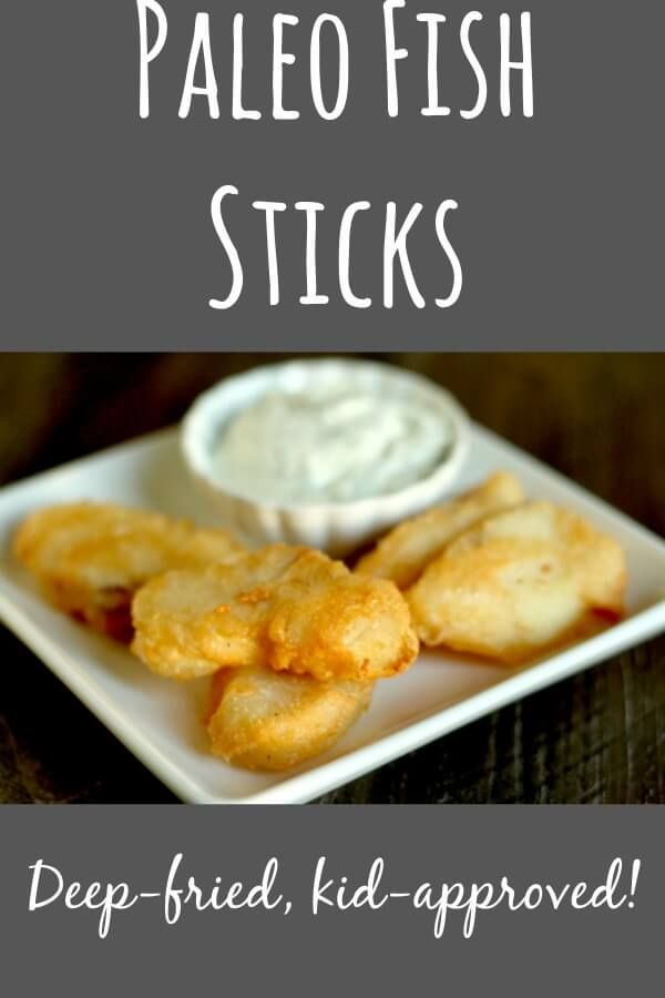 Paleo Fish Sticks--deep fried, flakey, and kid-approved! These are way better for you than Gorton's fish sticks and taste better, too!