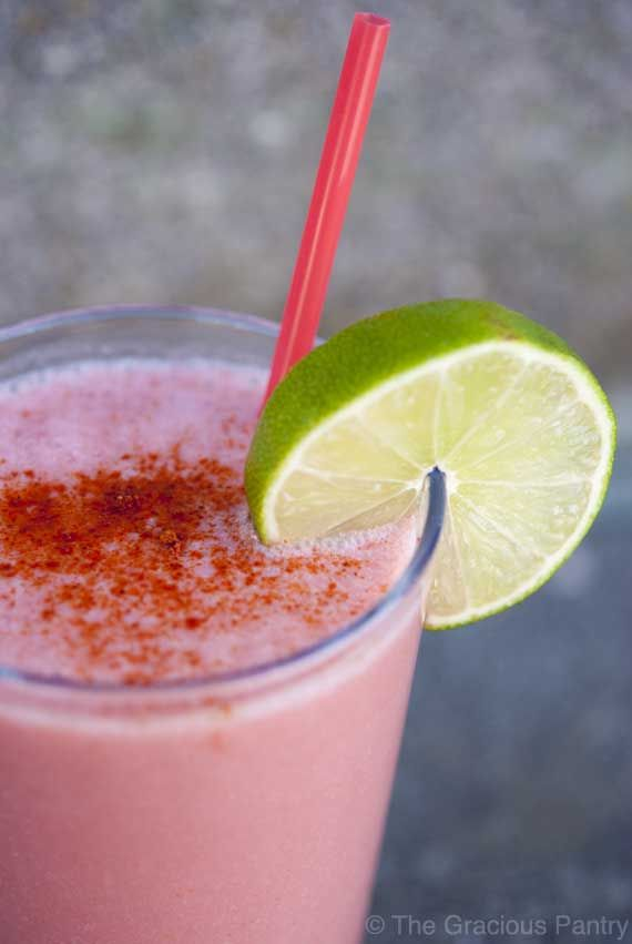 Clean Eating Spicy Sweet California Strawberry Smoothie by thegraciouspantry #Smoothie #Strawberry #Cucumber #Tomato #Lime #Honey #Coconut_Milk #Cayenne_Pepper #Healthy