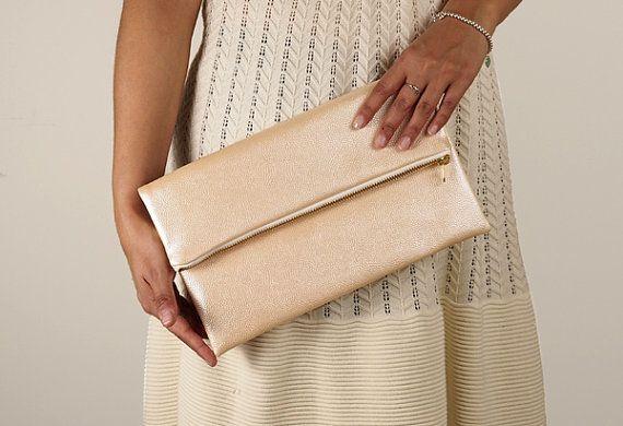 faux leather pink pearl fold over clutch, foldover, pebble texture, peach clutch, salmon, pebble texture, wedding bag, de almeida designs
