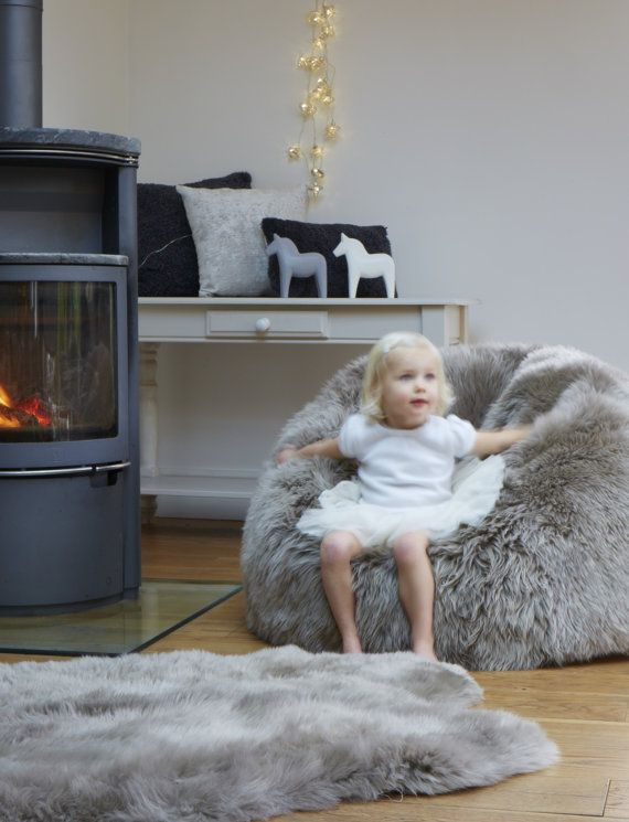 Sheepskin Beanbag Luxury large long haired the ultimate home accessory! by Swedishdalahorse #TrendingEtsy