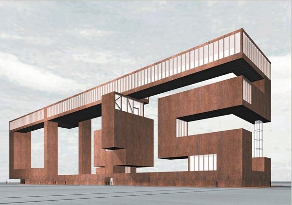 Simon Ungers - Art City proposal (gallery with integrated artist living quarters and educational facilities), 2005. Via.