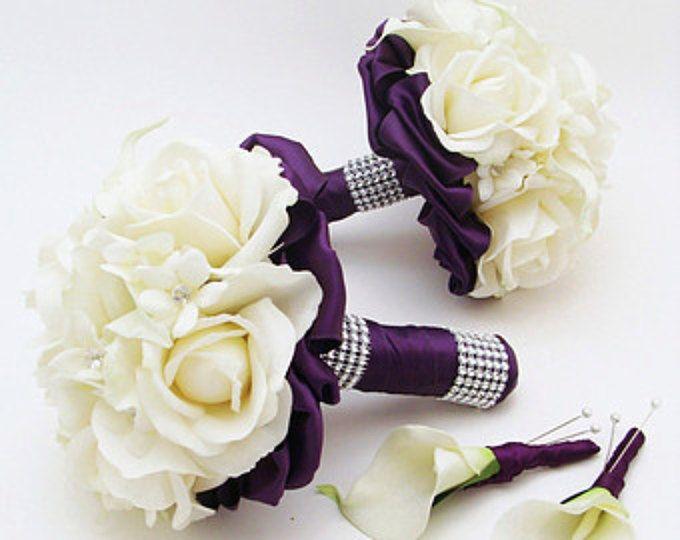 Púrpura boda flor paquete dama Ramos padrino o Stephanotis seda verdadera del tacto rosas tacto verdadero alcatraces