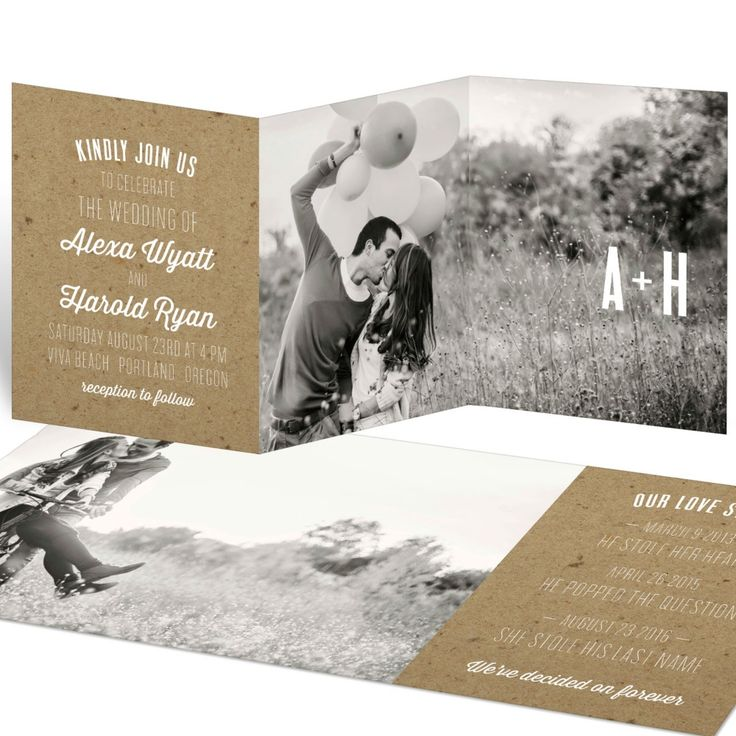 Take advantage of the kraft craze and use this go-with-everything look to create the wedding invitations and wedding theme of your dreams!
