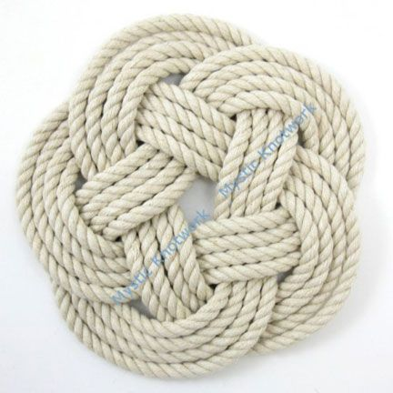 Nautical Rope Trivet Turks Head Weave Natural Cotton