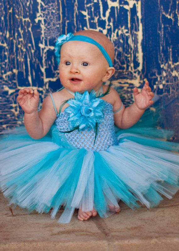 Light Blue & Turquoise Tutu Dress by TutuManiaDressUp on Etsy