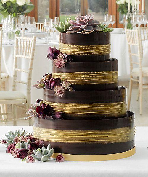 Shimmering Hoop Chocolate Wedding Cake (Dark & Gold)