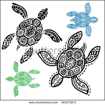 Decorative graphic turtle, tattoo style, totem animal, tribal pattern set, vector illustration - stock vector