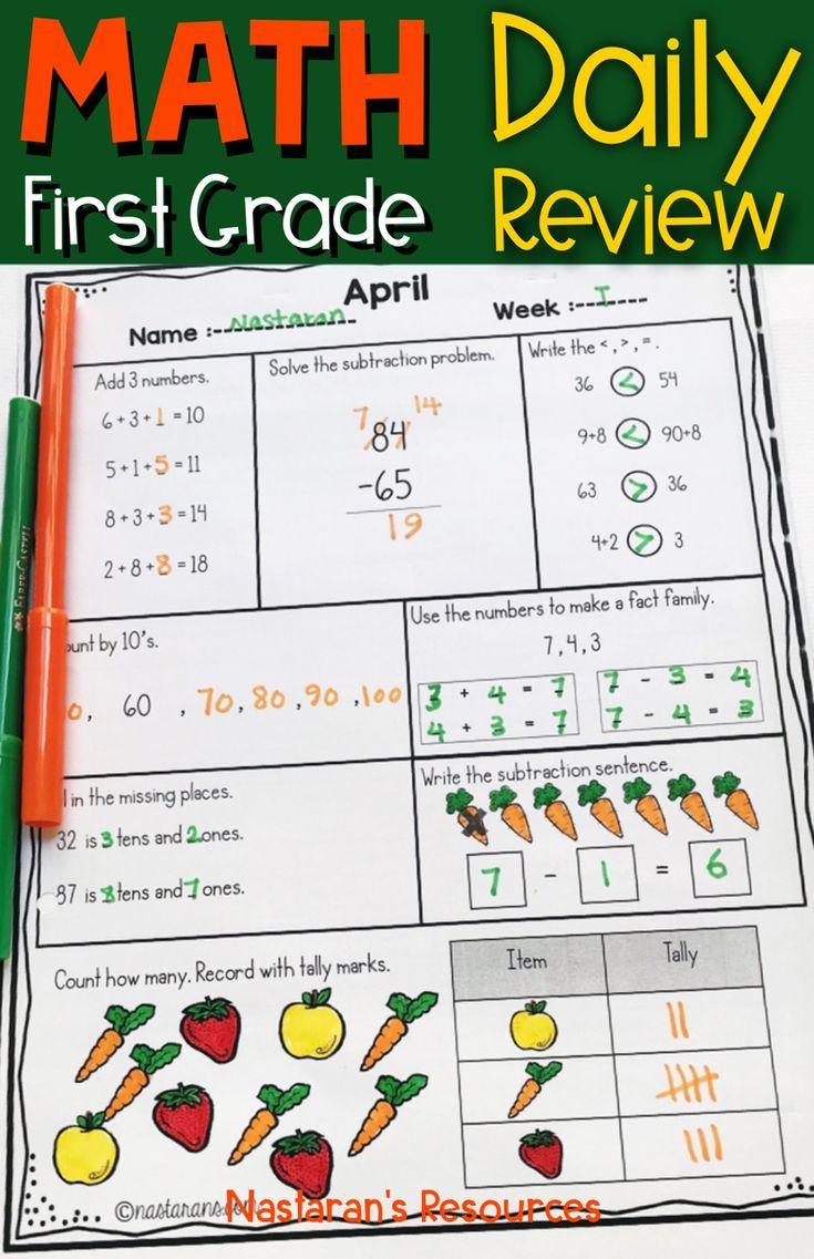 April Morning Work First Grade Spiral Math Review Spring Math Worksheets Math Review Spring Math Worksheets Math [ 1137 x 735 Pixel ]