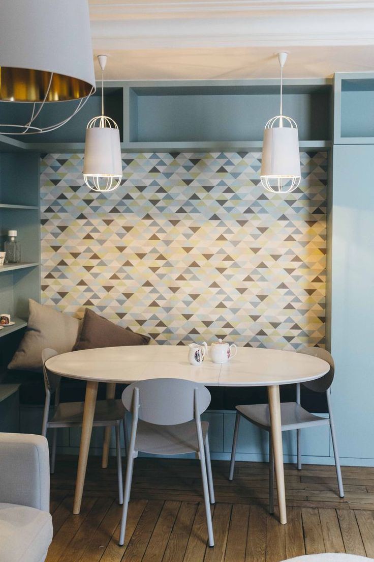 Kitchen shelves light blue jpg w 220 amp h 220 amp q 85 - French Dining Room With Graphic Wallpaper