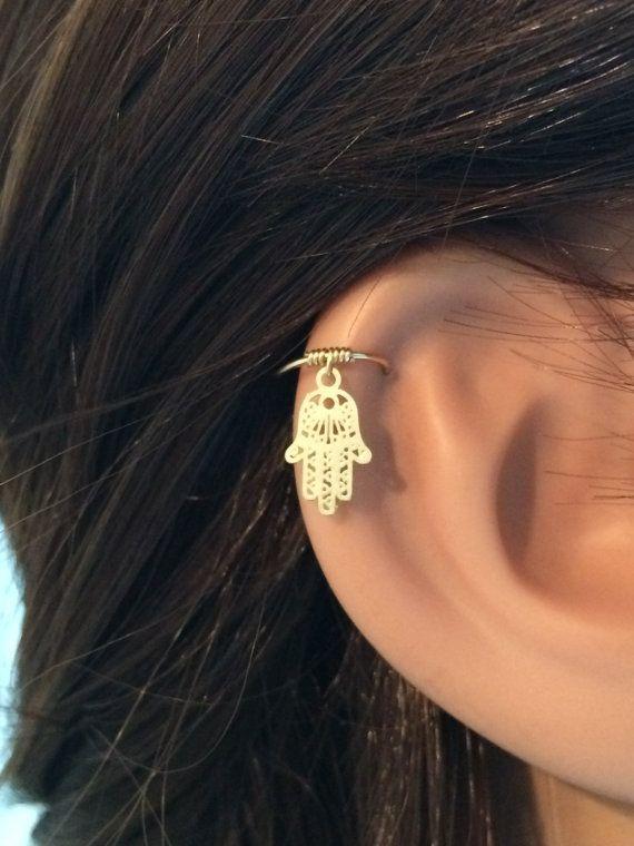 Hamsa cartilage earring gold cartilage hoop by FlowerRainbowNJ