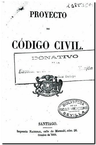 Proyecto de Código civil. - Santiago : Imprenta Nacional, 1855