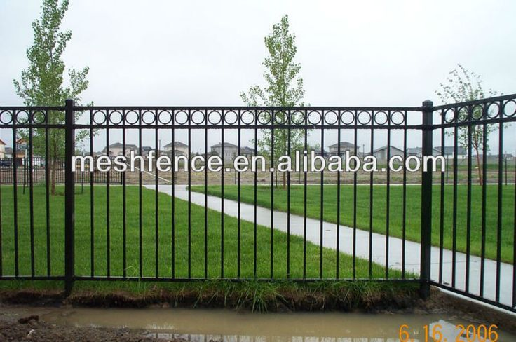 4' High Flat Top black wrought iron fence, View wrought iron fence ...