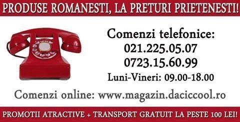 Promotii online ...Comenzile pe site-ul www.magazin.daciccool.ro se pot face On-Line comenzi@daciccool.ro sau la Telefon. 021.225.05.07 0723.15.60.99 luni-vineri: 09.00-18.00 .