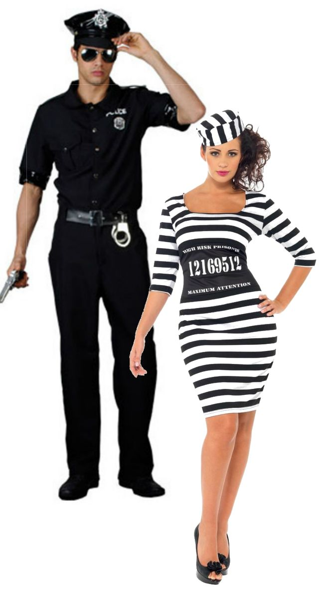 These Mens New York Cop And Ladies Classy Convict Costumes Are Perfect For Dressing Up As A Cops Couples Fancy Dress Robber Fancy Dress Fancy Dress Costumes
