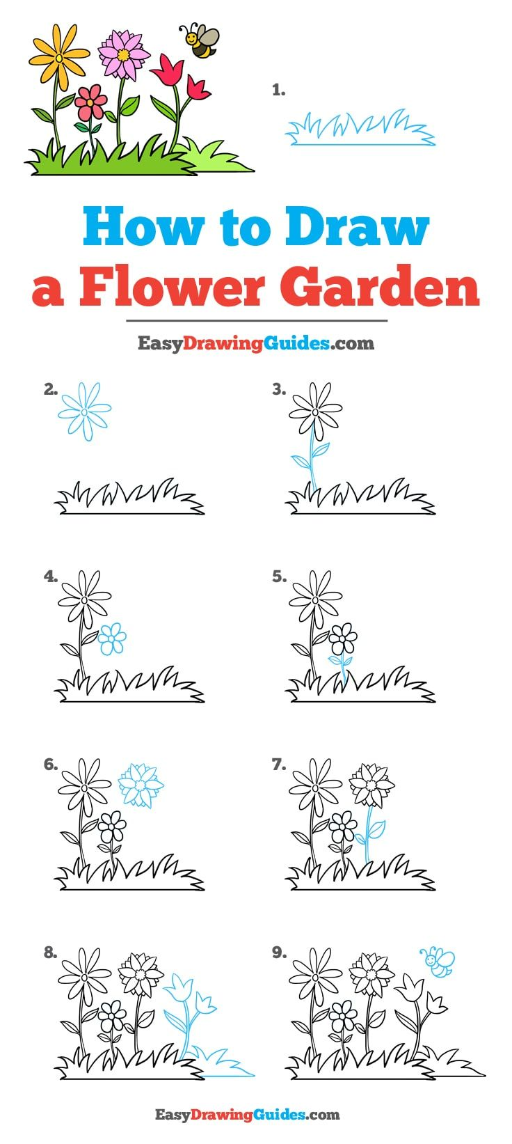 howto draw a garden with flowers