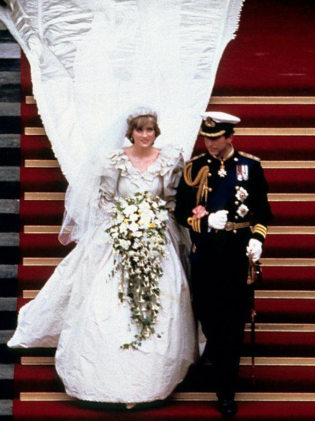 1981: The Wedding of Charles and Diana    Prince Charles, Prince of Wales and Diana, Princess of Wales leave St. Pauls Cathedral with that iconic long bridal train.