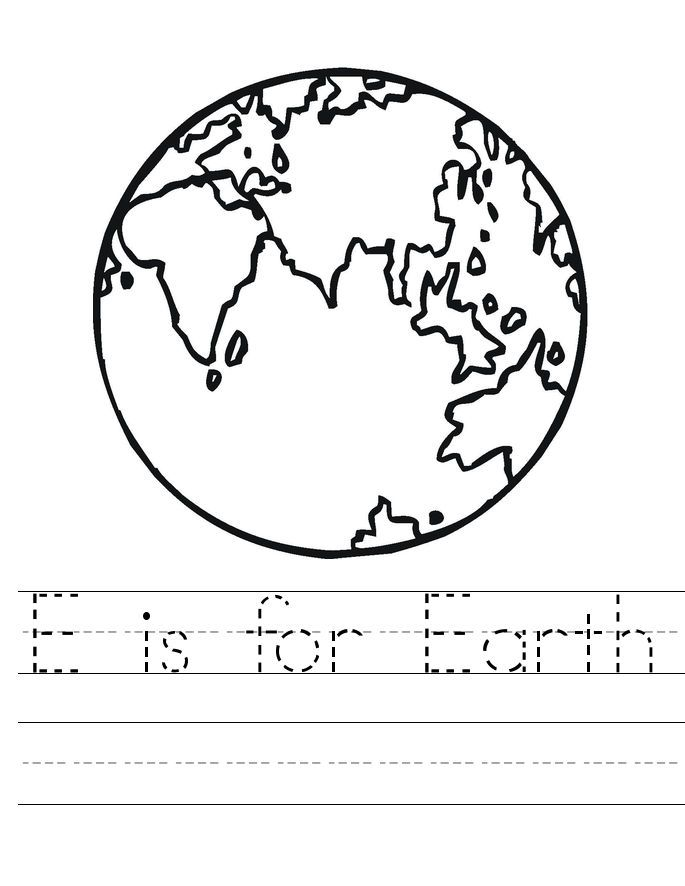 Printable Coloring Pages Earth Day Tracing Worksheet Printable