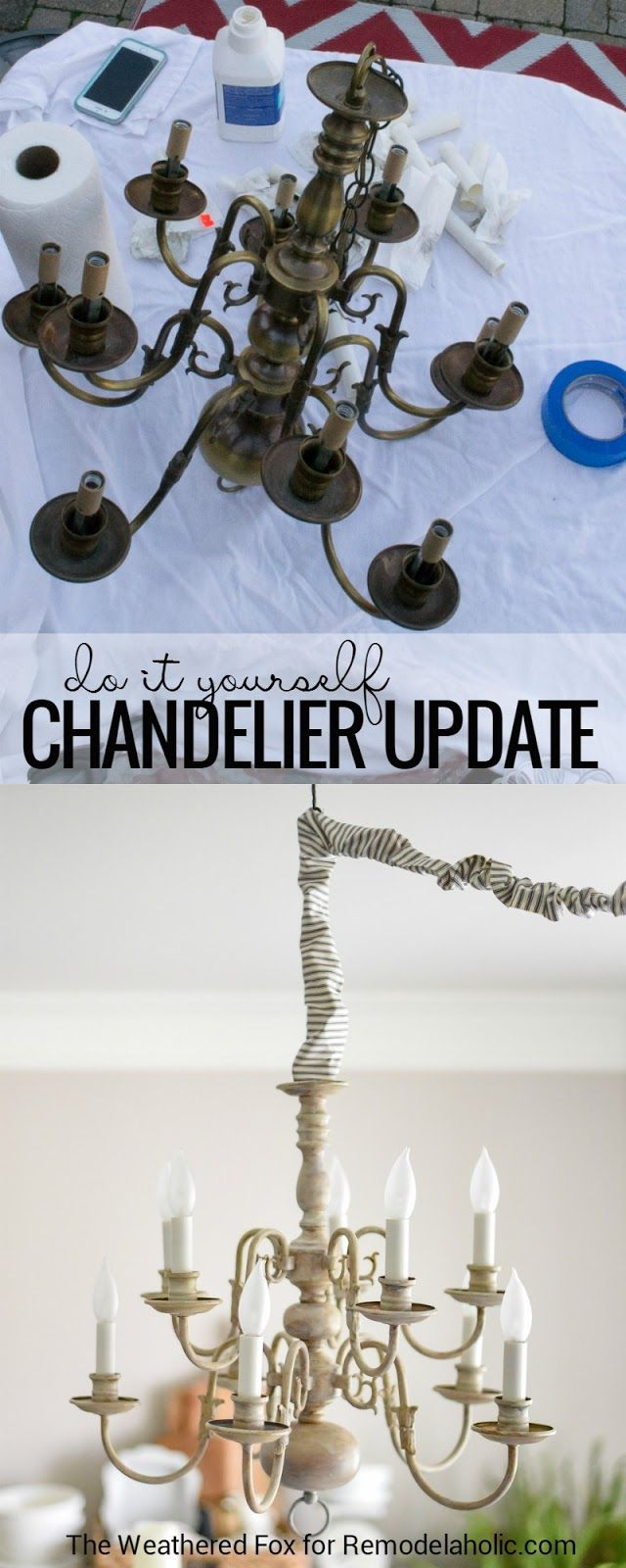 This DIY chandelier tutorial shows you how to paint and antique a thrift store brass light fixture and convert it from hardwired to a plug-in chandelier, plus how to make the swag fixture chic with a DIY cord cover