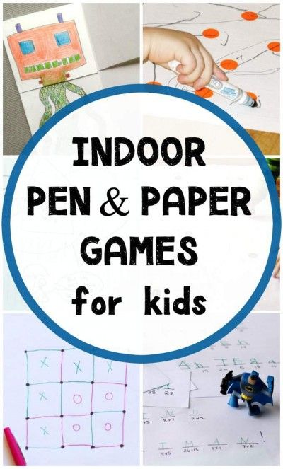 Pen and paper games for kids to do inside. Uses brain power and calms the kids down when stuck inside.