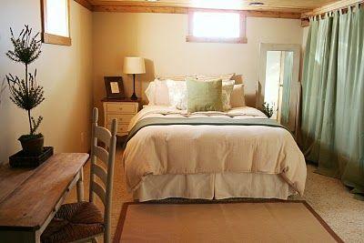 basement bedroom  curtain seperator