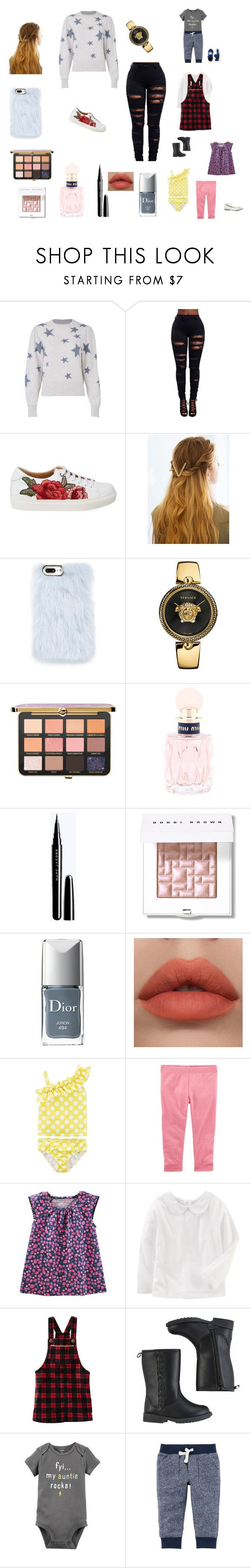 """Holly's first swimming lesson"" by bellzellz ❤ liked on Polyvore featuring Rebecca Taylor, WithChic, Skinnydip, Versace, Miu Miu, Bobbi Brown Cosmetics, Christian Dior and Carter's"