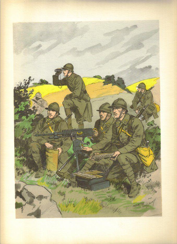 French; Bataillon de mitrailleurs, Caporal, chef de piéce. Chef de section. Tireur-mitrailleur & Chargeur et pourvoyeur., Tenue de Campagne, 1935 by M.Toussaint