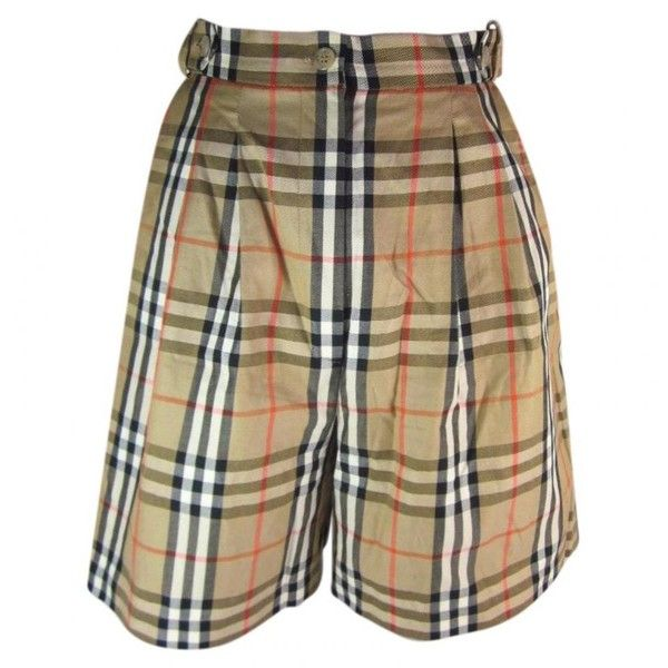 Pre-owned Burberry Beige Cotton Shorts (695 RON) ❤ liked on Polyvore featuring shorts, beige, beige shorts, burberry, cotton shorts and burberry shorts