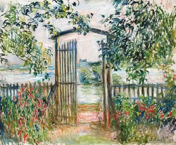 Das Kunstwerk Das Gartentor in Vetheuil (La Porte du jardin à Vetheuil) - Claude Monet liefern wir als Kunstdruck auf Leinwand, Poster, Dibondbild oder auf edelstem Büttenpapier. Sie bestimmen die Größen selbst.