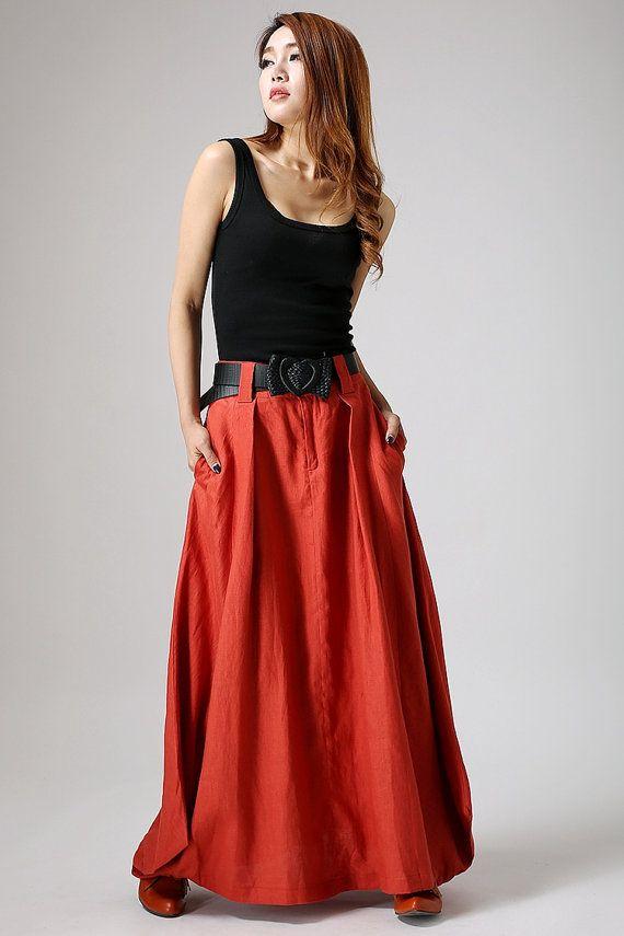 Orange skirt, maxi skirt, womens skirst, linen skirt,skirt with pocket ,boho skirt, lagenlook skirt,long skirt,custom made skirt,Gifts 896