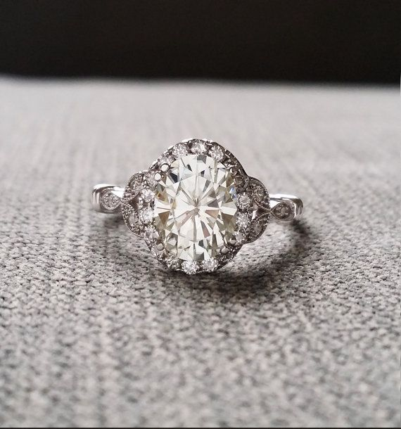 Also another favorite in white gold!!! Estate Halo Moissanite Diamond Antique Engagement by PenelliBelle