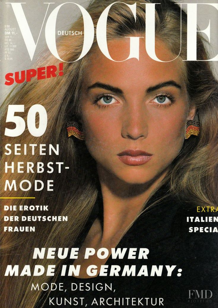 Cover of Vogue Germany with Rachel Williams, August 1988 (ID:3142)| Magazines…