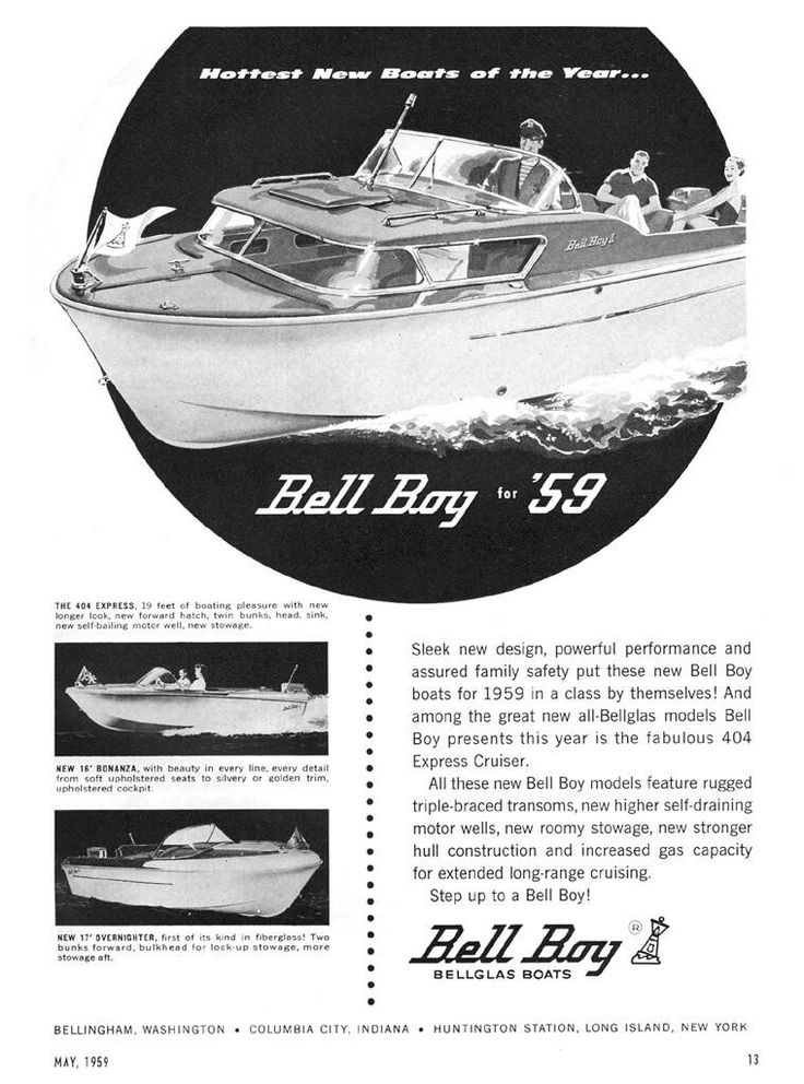 Bell Boy brochure of the  1959     Bell Boy Express 404. Total length 18ft 5 inch and 1190 pounds, featuring 2 birth accomodation,  sink and toilet and two 20 gallon fuel tanks.