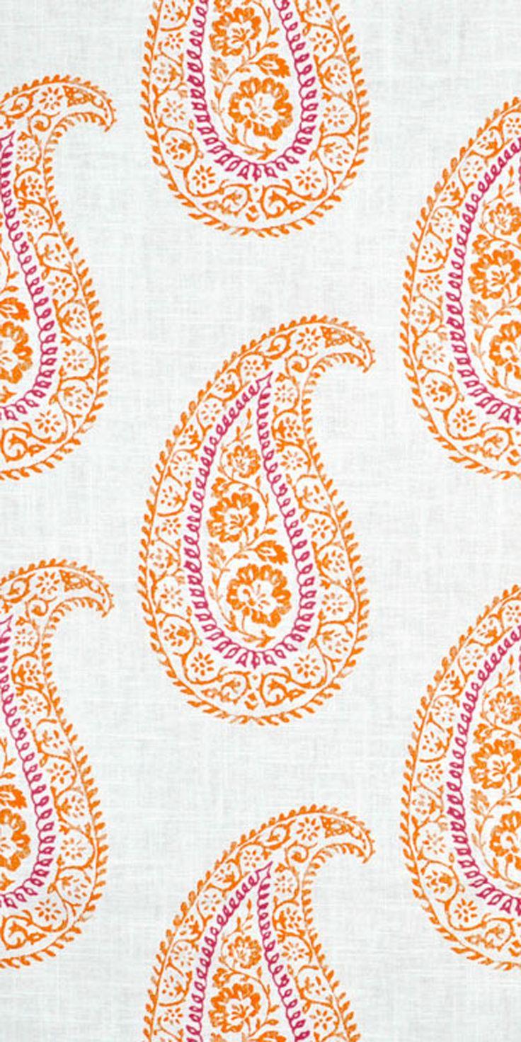 Portfolio Mandha Papaya Fabric in Pink and orange with paisley design
