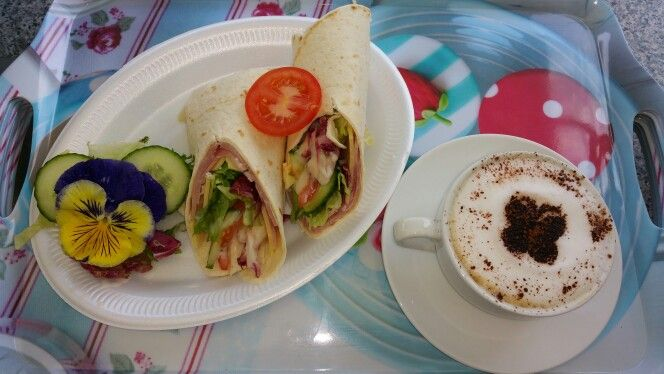Ham, cheese and salad wrap