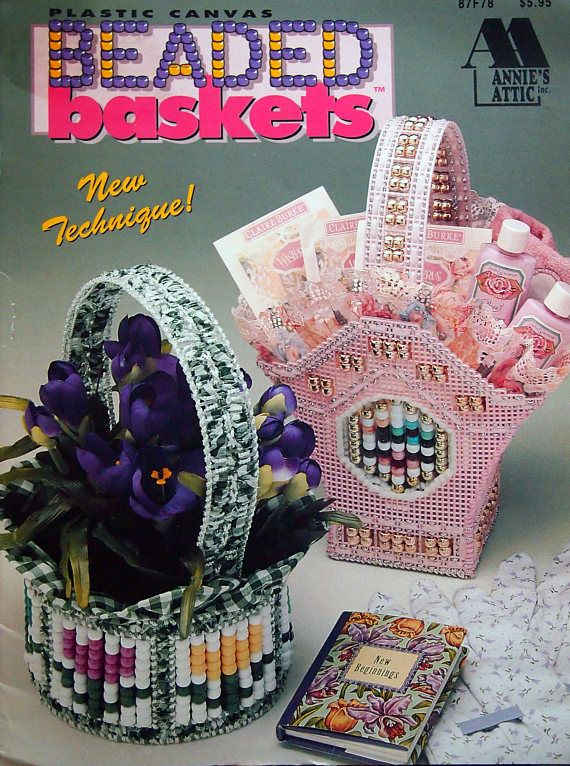 Beaded Baskets By Annie's Attic Vintage Plastic Canvas