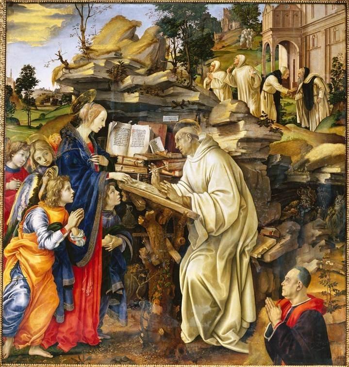 Explore this interactive image: Filippino Lippi, Vision of St. Bernard by Sharon