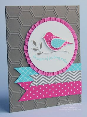 handmade card from Elaine's Creations: Polka Dot Pieces Bird Card ....great look of gray card with hot pink and aqua pieces ... two step bird on focal point cirecle ... sweet ruffled ribbon around the circle ... honeycomb embossing folder texture ... fishtail banners from patterned papers ... like this card!! ... Stampin' Up!
